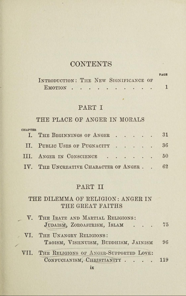 Anger: its religious and moral significance table of contents