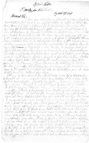 Letter: To Samuel Wesley (1662-1735) from Samuel Wesley Jr. (1690-1739), August 29, 1719 (handwritten copy)
